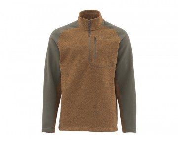 Simms Rivershed Sweater QuarterZip Brown