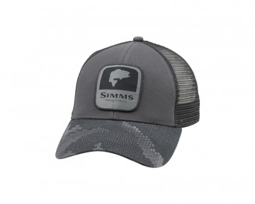 Simms Bass Patch Trucker Hex Camo Carbon