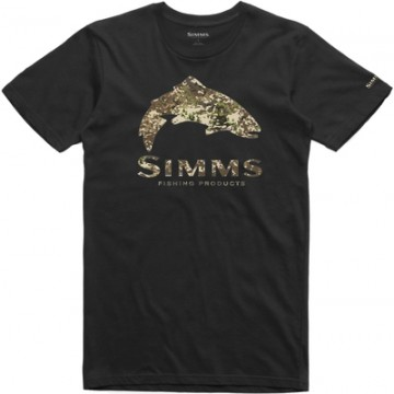 Simms Trout River Camo T-Shirt Black