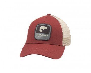 Simms Bass Patch Trucker red